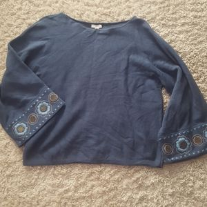 Embroidered Sleeve Blue Sweater